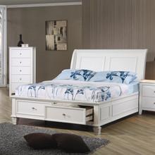 Selena White Wood Full Platform Storage Bed | Cottage White Platform Bed with Drawers
