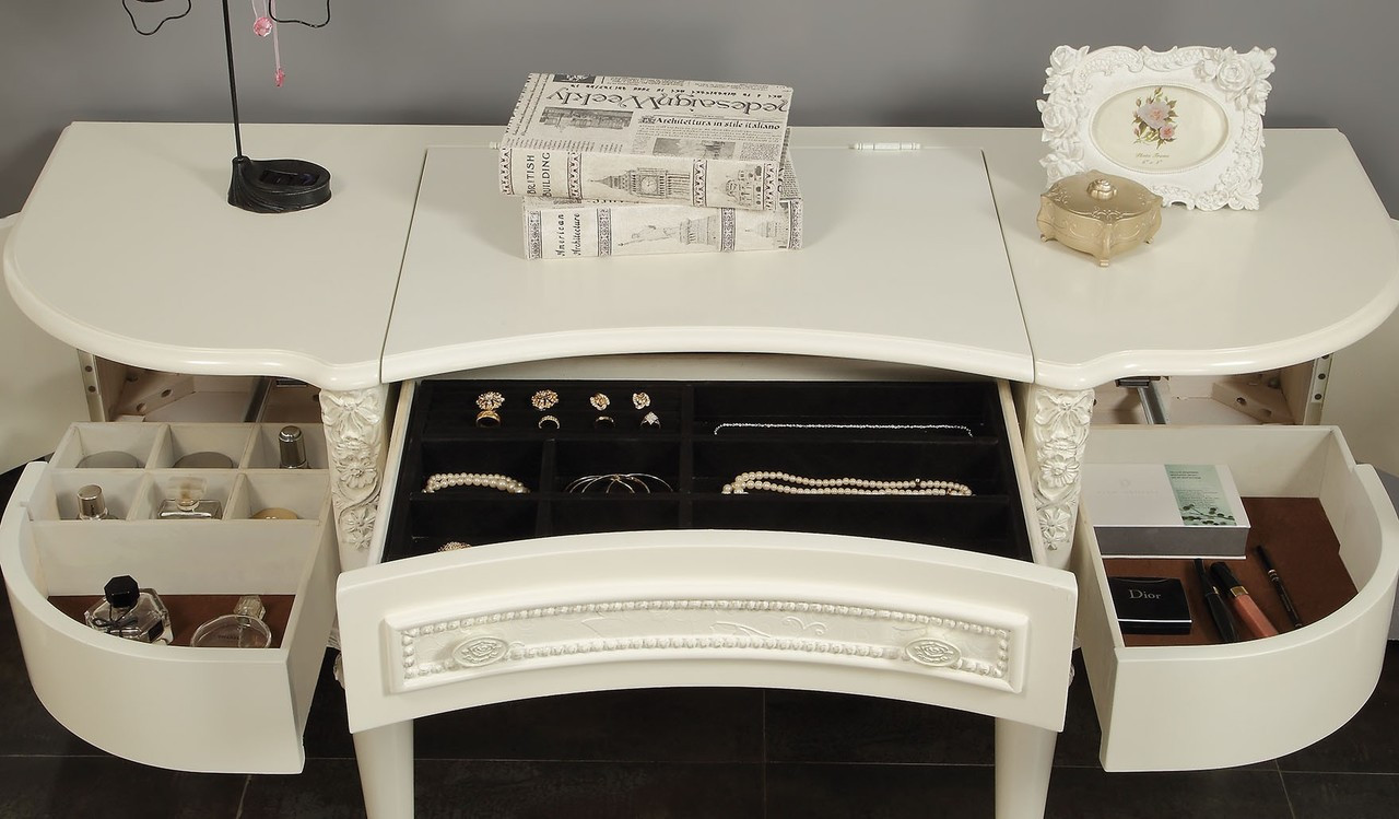Allison Ivory Vanity Table Set With Mirror And Drawers