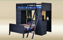 Gavin Navy Blue Twin Loft Bed with Desk and Chest