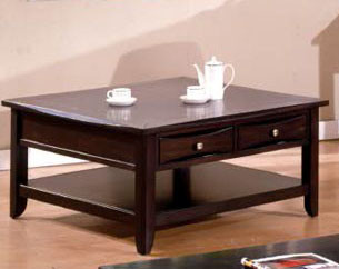 40 Baldwin Espresso Square Coffee Table W Storage Drawers