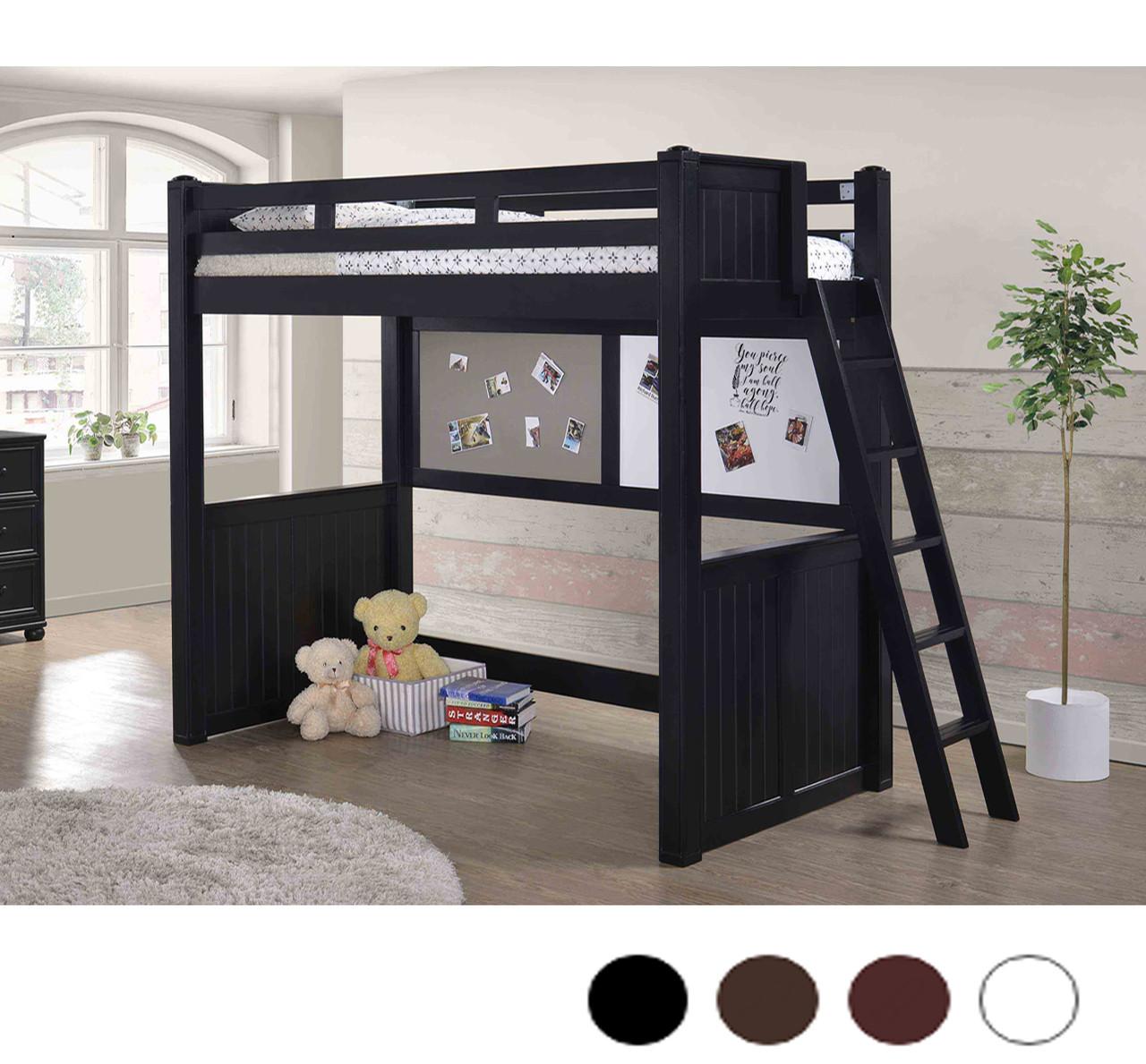 Molly Wood Twin Size Loft Bed in White, Black, Walnut
