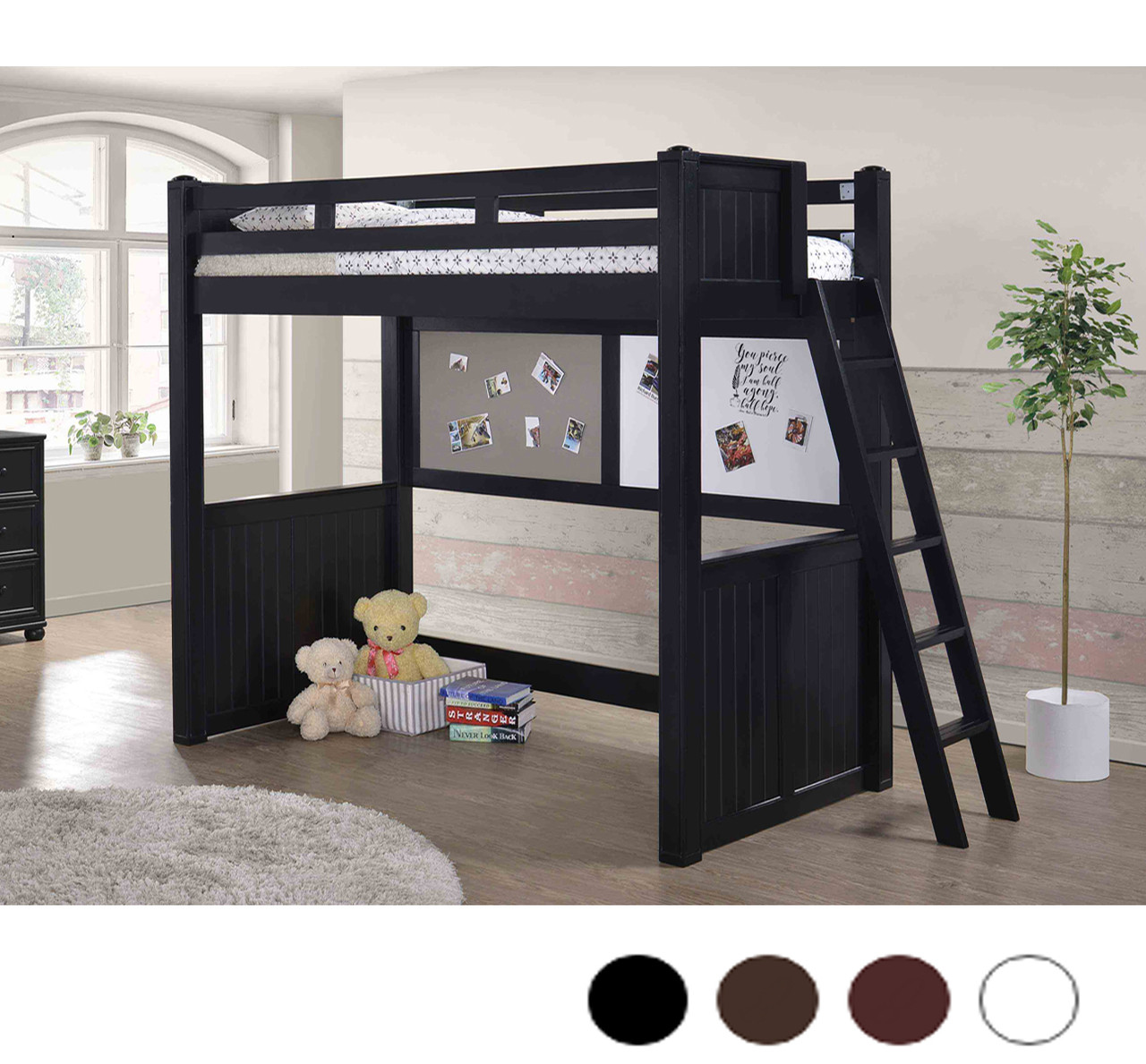 Bon Molly Twin Loft Bed With Ladder In Black Finish  Wood Lofts ...