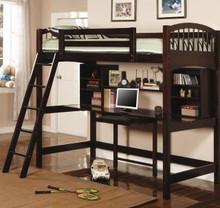 Cappuccino Wood Student Loft with Desk Below