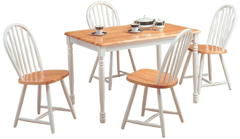 48 natural white butcher block table w 4 spindle chairs rh efurniturehouse com  butcher block kitchen table set