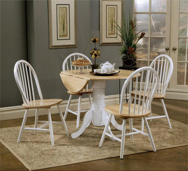 Round Butcher Block Drop-Leaf Kitchen Table w/ Chairs | Small Round Kitchen Tables