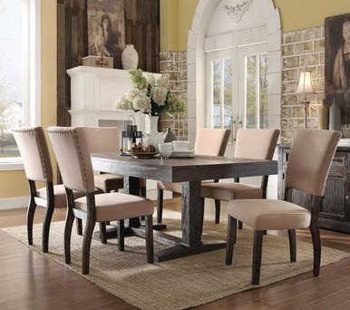 Eliana 7PC Salvaged Dark Oak Dining Room Table Set