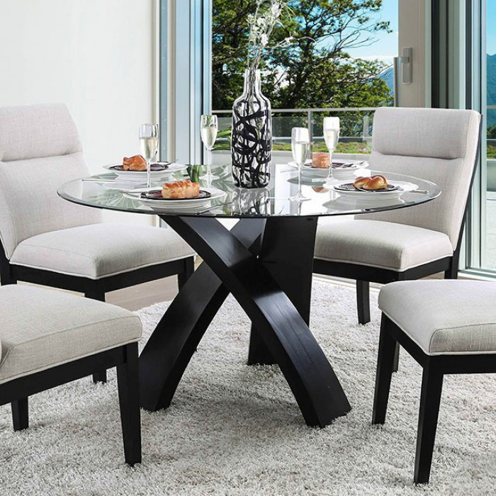 Jasmin 5 Piece Glass Dining Set 52 Round Glass Top Table For 4