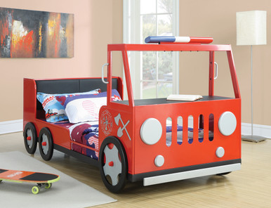 Red Twin Fire Rescue Car Bed
