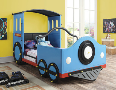Blue Twin Train Bed | Theme Bed Frame for Kids