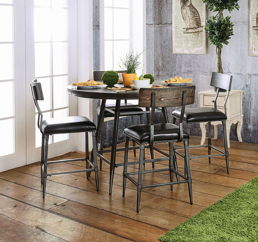 "Set Chairs: Industrial Style 45"" Round Counter Height Table Set"