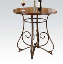 Walnut & Dark Bronze Round Wood Bar Table