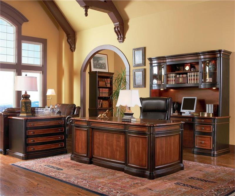 74 Brown Cherry Executive Office Desk Deluxe Office Furniture