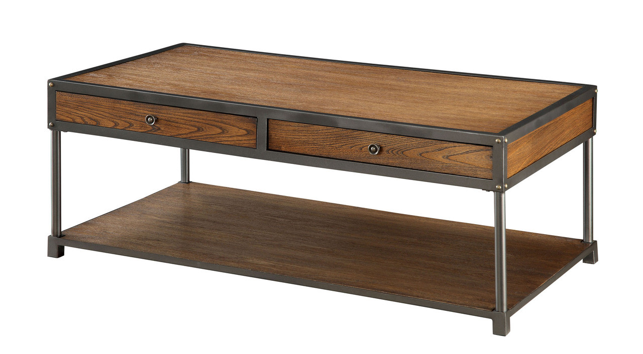 Bearbrass Rustic Wood Metal Coffee Table With Drawers