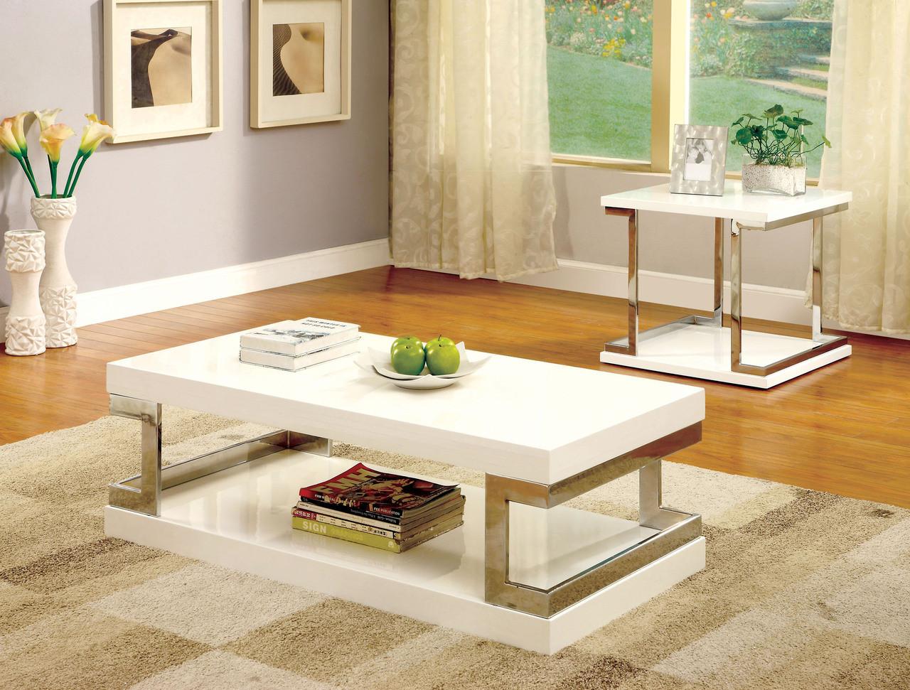 Messina Contemporary White Gloss Chrome Coffee Table