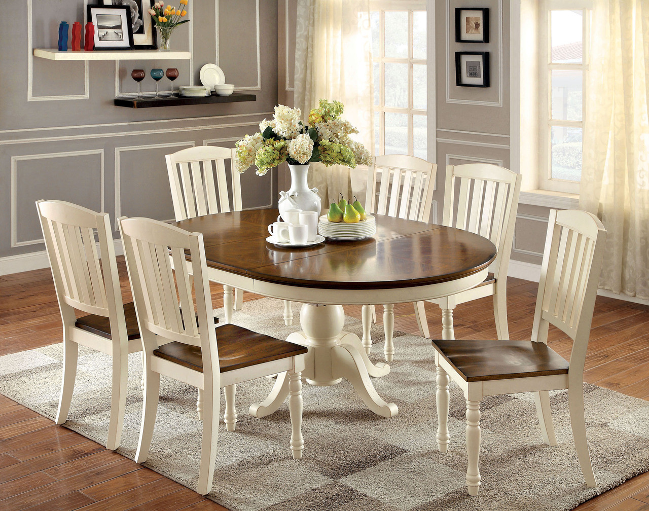66 Sutton Oval Vintage White Cherry Dining Table Set