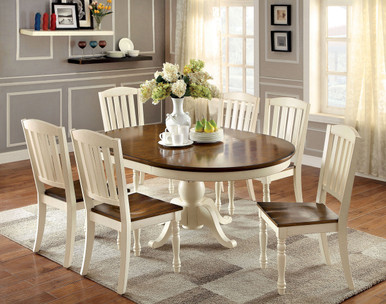 Oval Vintage White Cherry Dining Table Set