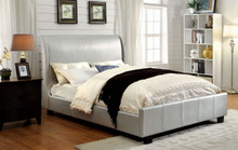 Wingback Silver Leatherette Low Profile Bed