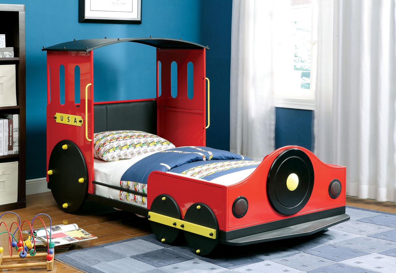 Retro Train Twin Metal Car Bed Frame Theme Beds For Kids