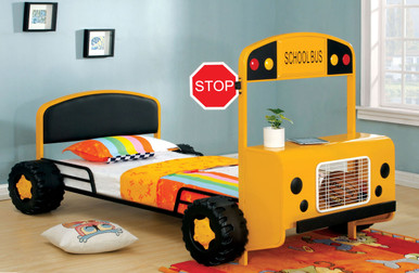 Twin Yellow School Bus Bed Frame
