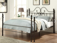 Dark Brown Queen Size Metal Bed