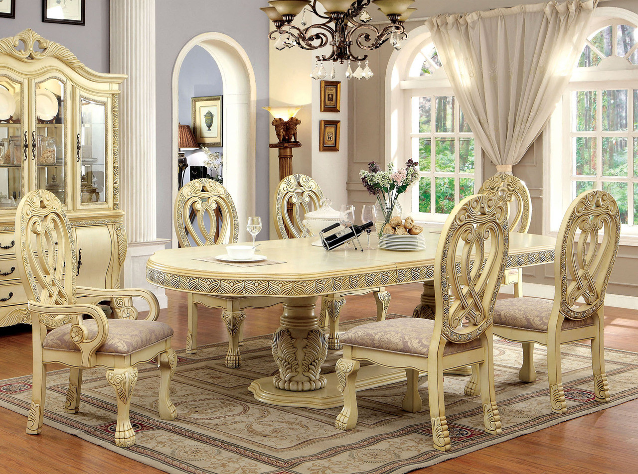 Superieur Antique White Formal Dining Room Set For 10 ...