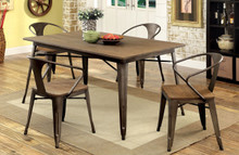 Industrial Natural Elm Dining Table + 4 Chairs | Stylish Small Kitchen Table with Chairs