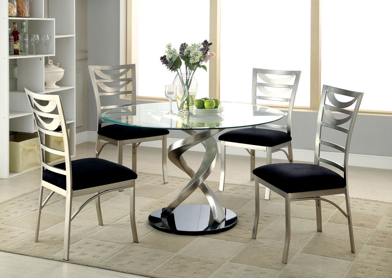 48 Mueller Round Glass Satin Dining Table With 4 Chairs For Sale