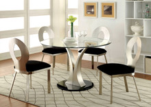 Round Glass Satin Dining Set