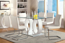 Cortina Glass White Dual Base Dining Set