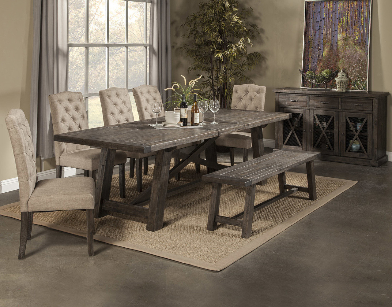 newberry dining table with 4 chairs  bench
