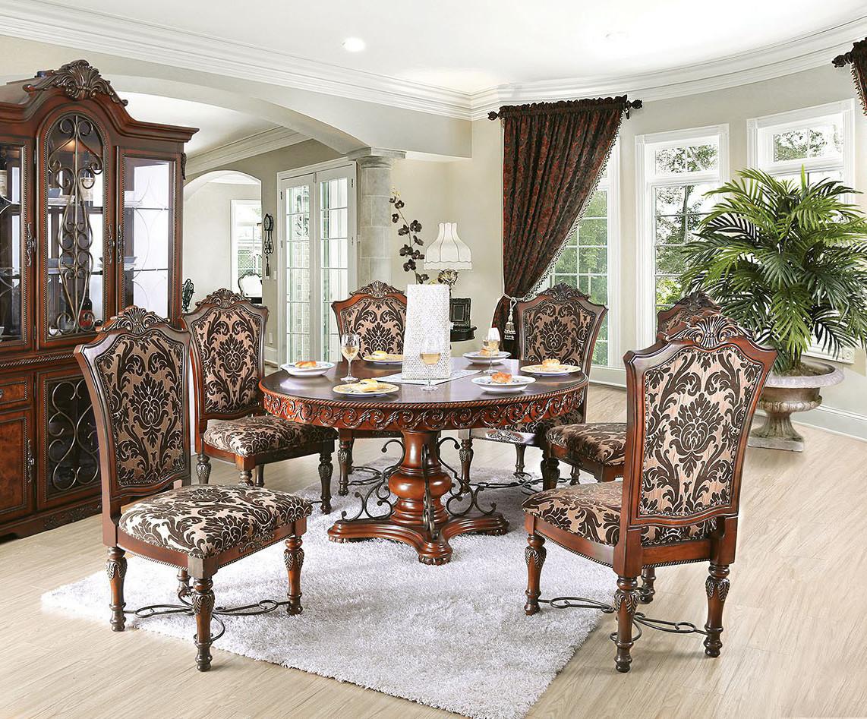 "formal dining room table | 60"" Geneva Round Brown Cherry Formal Dining Room Set"
