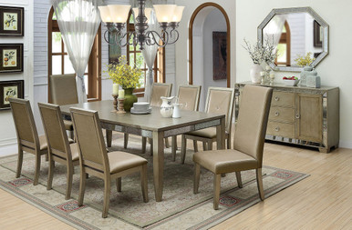 Furniture of America CM3980T Antique Gold Dining Table Set