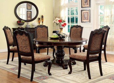 "6 Seater 60"" Bellagio Brown Cherry Round Table with Fabric Chairs"