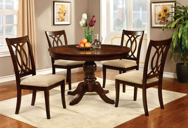 Carlisle Brown Cherry Round Table With Chairs for 4