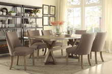 Beaugrand Light Oak Stainless Steel Trim Dining Set