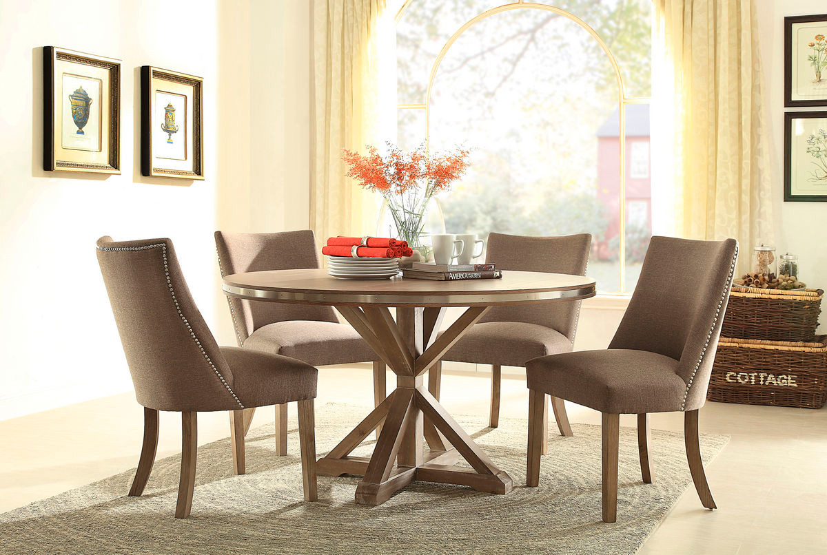 Transitional Round Light Oak Stainless Steel Trim Dining Set Table