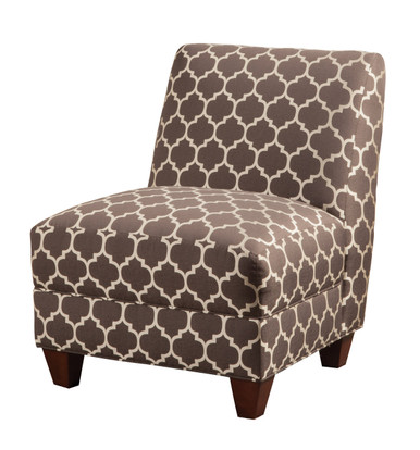 Grey White Quatrefoil Print Fabric Accent Chair