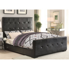 Lorelei Black Leatherette Tufted Queen Bed