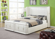 Linus Wingback Pearl Leatherette Queen Bed