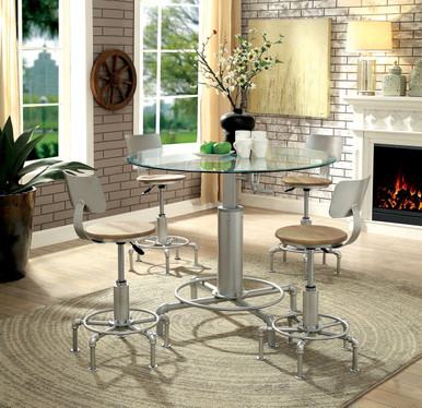 Helene 5 Piece Pipe Inspired Adjustable Height Dining Set with Round Glass Top