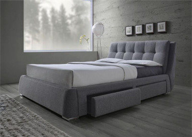 Grey Fabric Platform Bed with Storage Drawers   Space Saving Upholstered Queen, King Platform Bed with Drawers