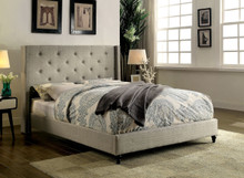 Gabriel Wingback Upholstered Fabric Bed in Warm Gray