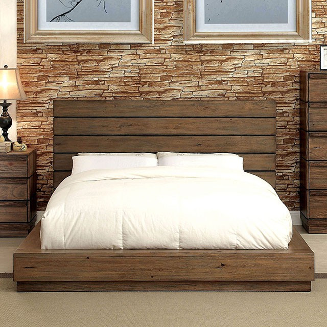Coimbra Modern Plank Panel Low Profile Platform Bed