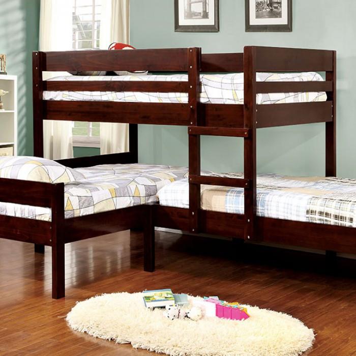 Aiden Espresso Wood Corner Triple Twin Bunk Bed