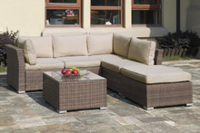 Lizkona Outdoor Patio 4-Pcs Sectional Sofa Set by Poundex   Outdoor Sectional Sofa