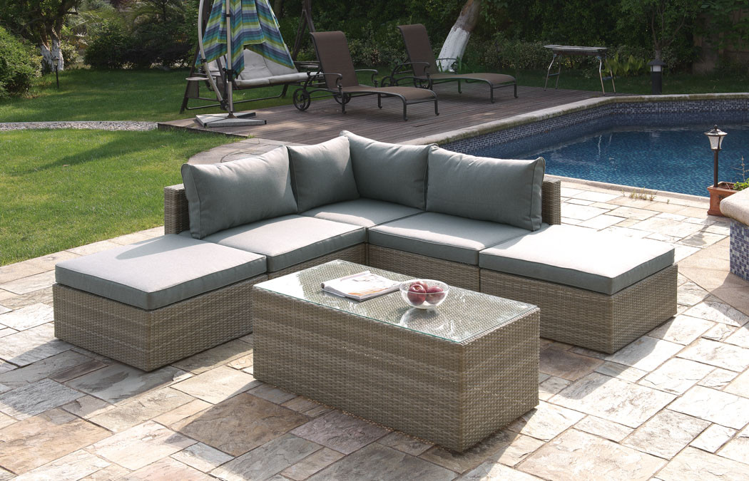 Lizkona Outdoor Patio 6-Pcs Sectional Sofa Set by Poundex