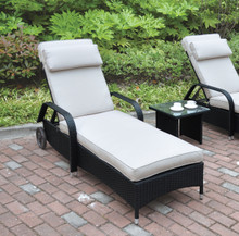 Adjustable Patio Lounger Chair by Poundex   Dark Brown Lounger Frame
