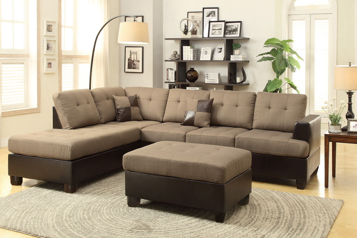3 Pcs Sectional Sofa Set With Ottoman By Poundex