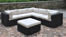 Outdoor Patio 6-Pcs Cream Sectional Set with Ottoman   Outdoor Patio Set