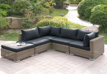 Lizkona 417 Outdoor Patio 5-Pcs Sectional Sofa Set by Poundex   Outdoor Sectional Set